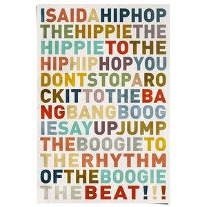 Poster Songtekst Kleurrijke hiphop songtekst