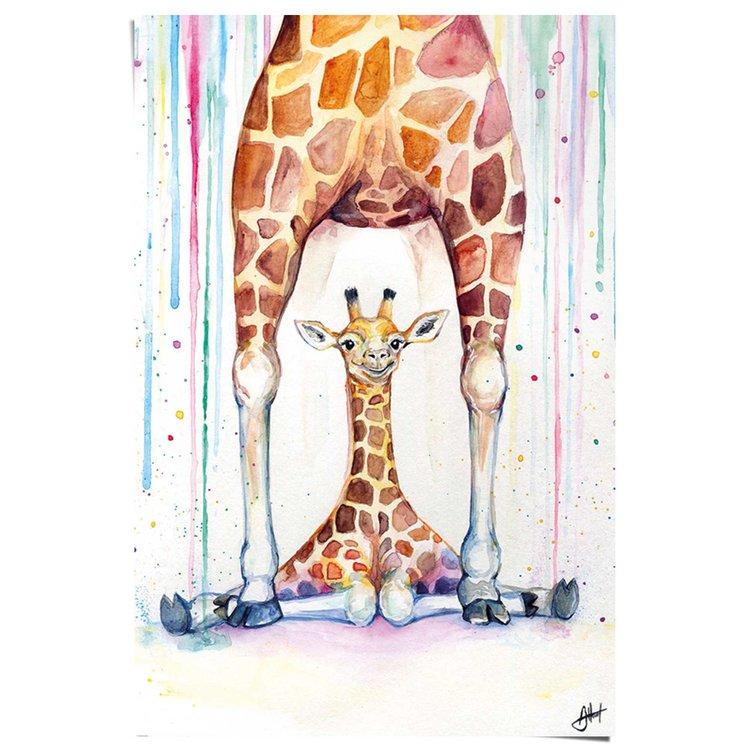 Giraffe Groot en klein - Poster 61 x 91.5 cm