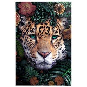 Poster Luipaard Met bloemenkrans