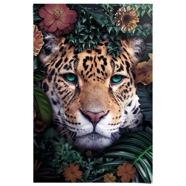Luipaard Met bloemenkrans - Poster 61 x 91.5 cm