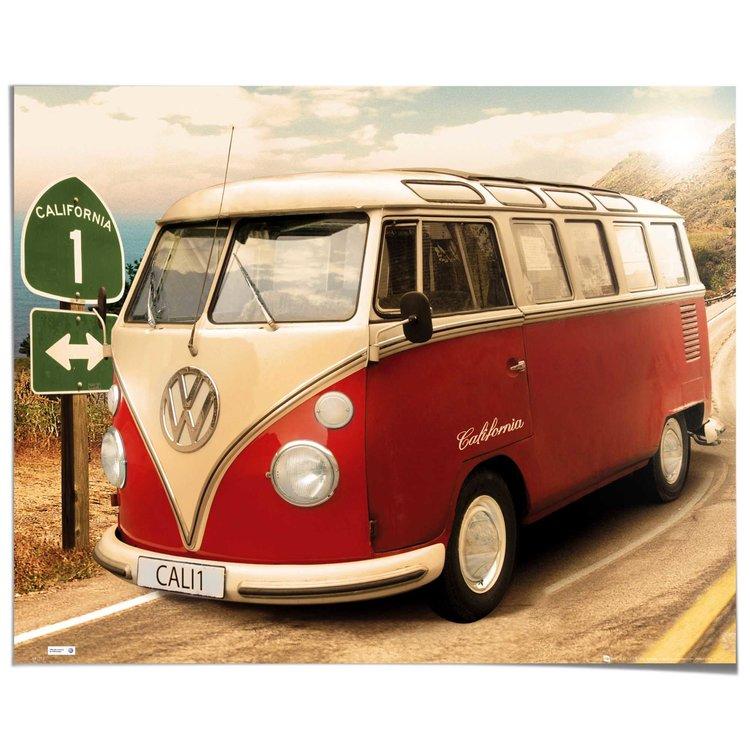 Volkswagen Busje - Poster 50 x 40 cm