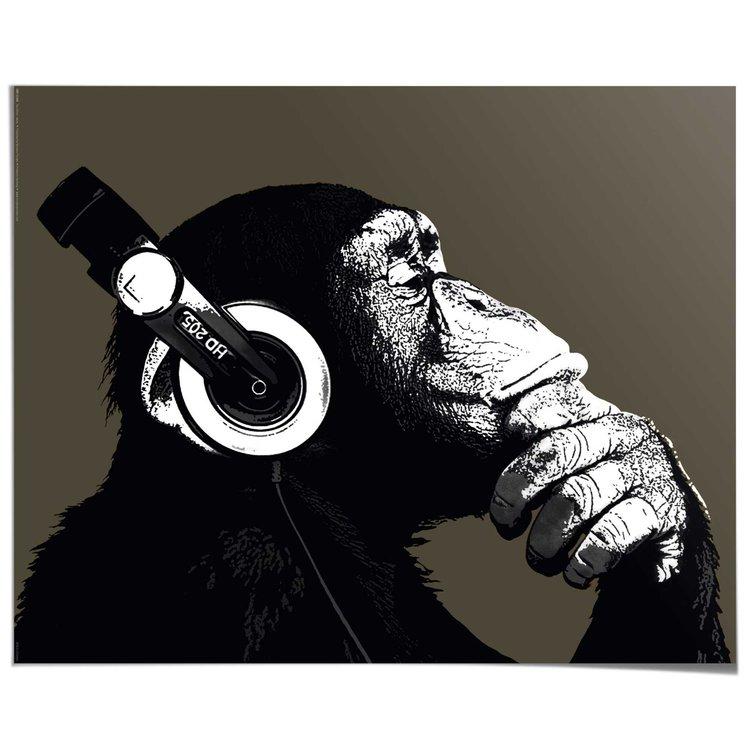 Chimp Headphones - Poster 50 x 40 cm