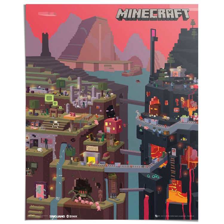 Minecraft Wereld - Poster 40 x 50 cm