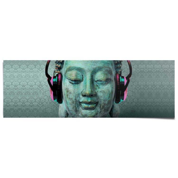 Boeddha koptelefoon  - Poster 158 x 53 cm