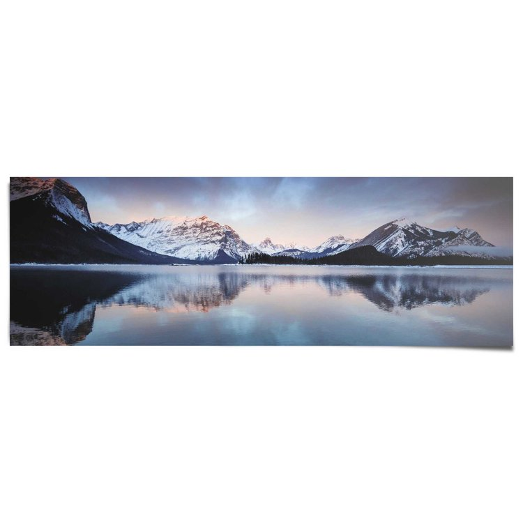 Zonsondergang bergmeer  - Poster 158 x 53 cm