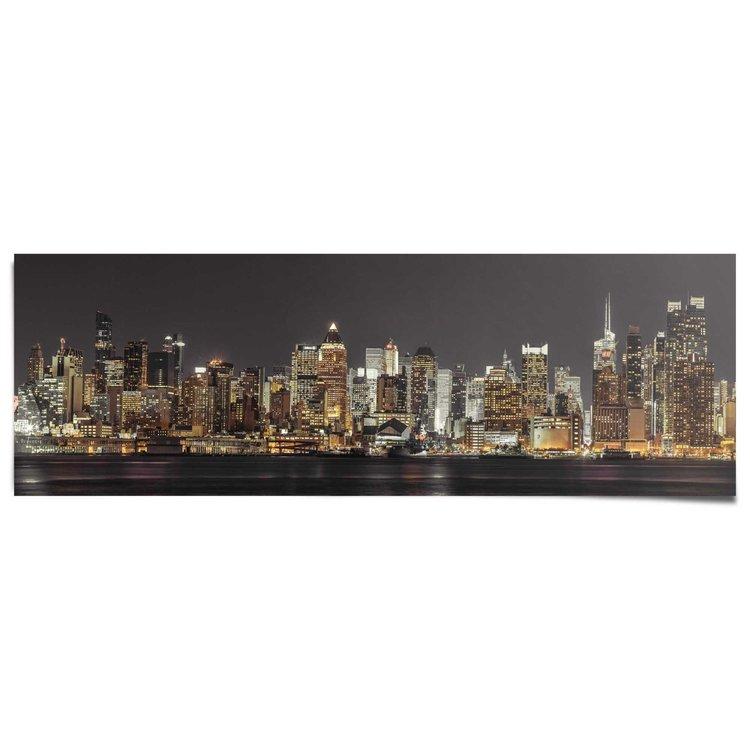 New York skyline in de nacht (Assaf Frank)  - Poster 158 x 53 cm