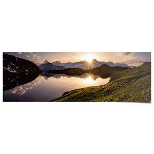 Poster Bergmeer bij zonsondergang