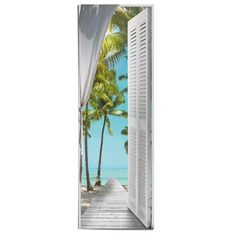 Tropisch Uitzicht  Zon - Zee - Strand - Vakantie  - Poster 53 x 158 cm Papier