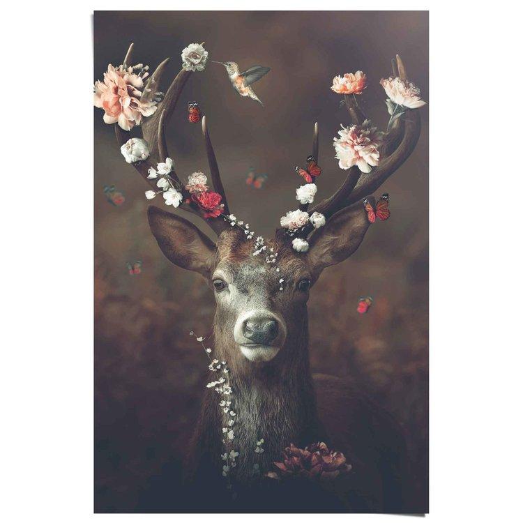 Hert  Romantisch - Kolibri - Vlinder - Bloemenkrans  - Poster 61 x 91.5 cm Papier