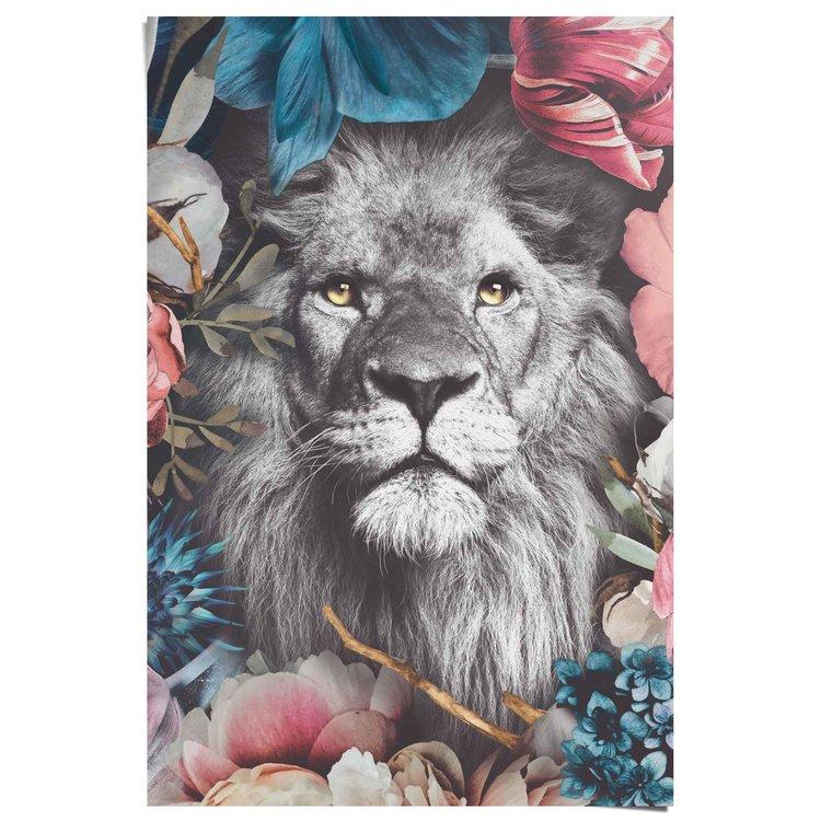 Leeuw Bloemen - Planten - Kleurrijk - Jungle - Poster 61 x 91.5 cm Papier