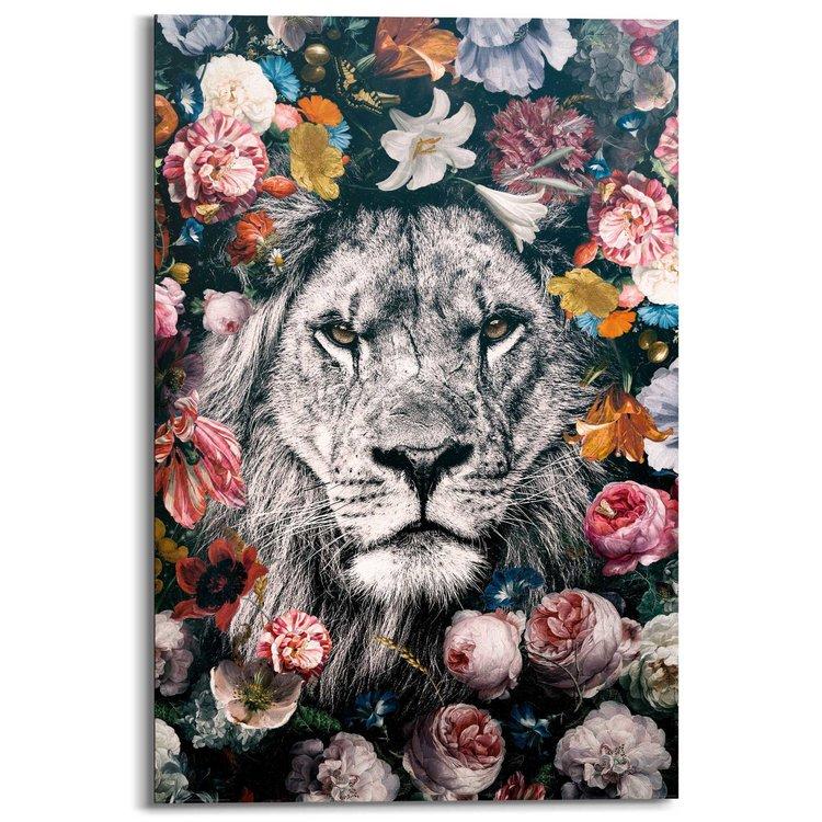 Leeuw Bloemenkrans - Schilderij 60 x 90 cm