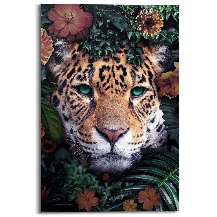 Luipaard Bloemenkrans - Schilderij 60 x 90 cm