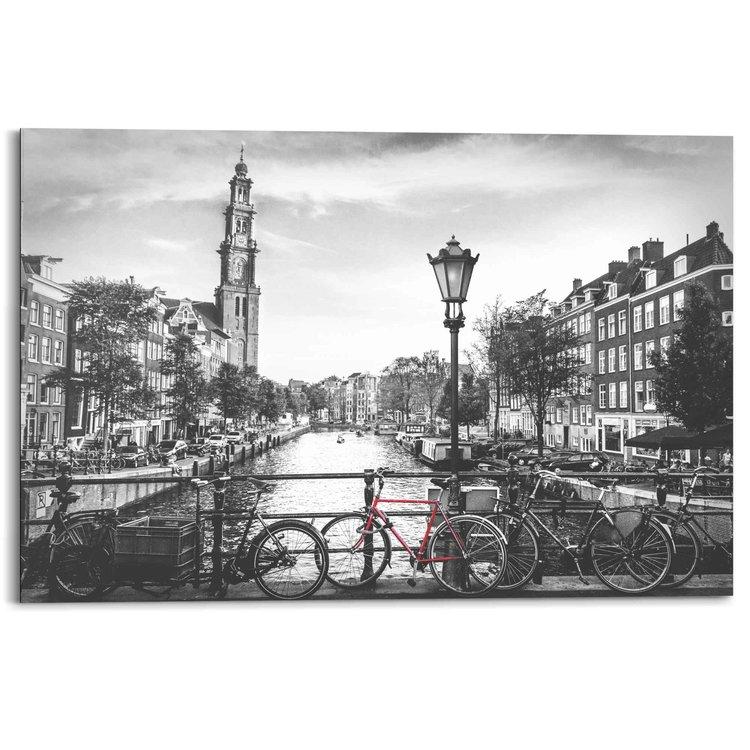 De Amsterdamse grachten Zwart-wit - Schilderij 90 x 60 cm