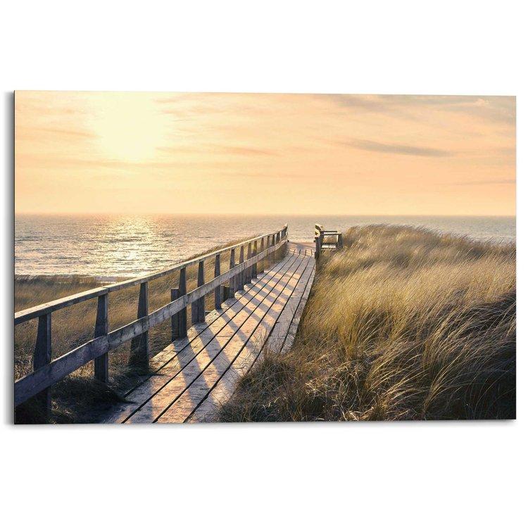 Strandpad Strand - Duinen - Zonsondergang - Zee - Schilderij Deco Panel 90 x 60 cm