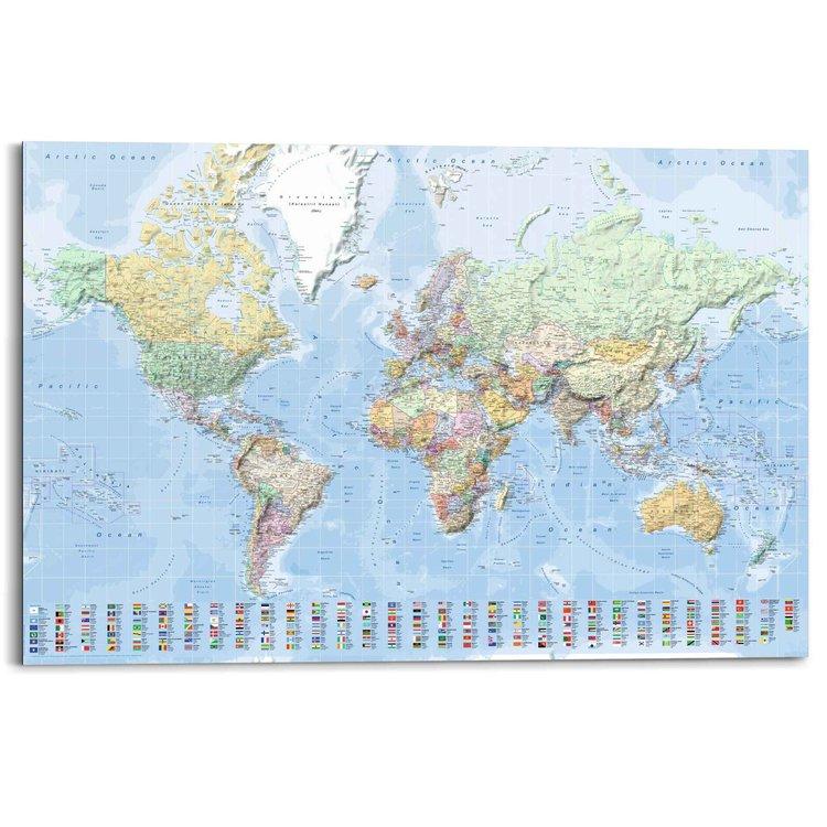 Wereldkaart Vlaggen - Engels - Schilderij Deco Panel MDF 90 x 60 cm