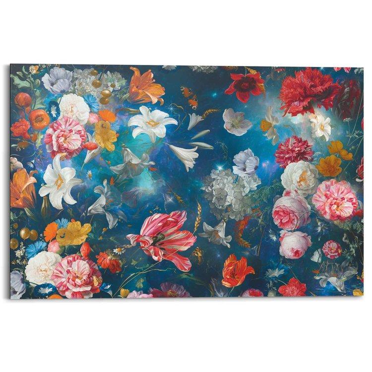 Bloemenwereld Bloemen - Planten - Kleurrijk - Schilderij Deco Panel MDF 90 x 60 cm