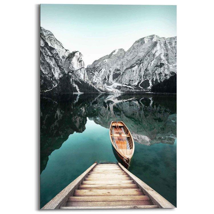 Bergmeer  Rocky Mountains - Glacier - Winter - Schilderij Deco Panel MDF 60 x 90 cm