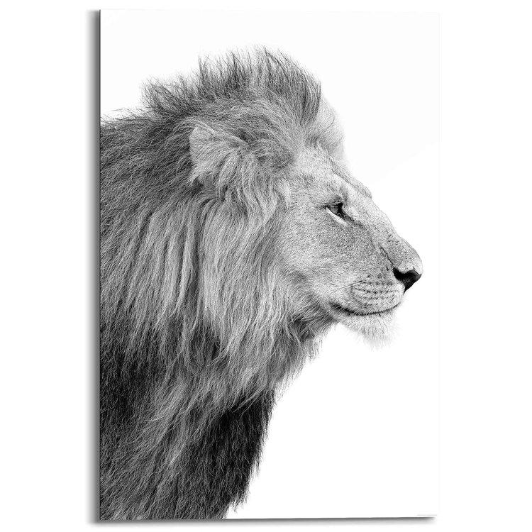 Leeuw Koning - Jungle - Zijportret - Krachtig - Schilderij Deco Panel MDF 60 x 90 cm