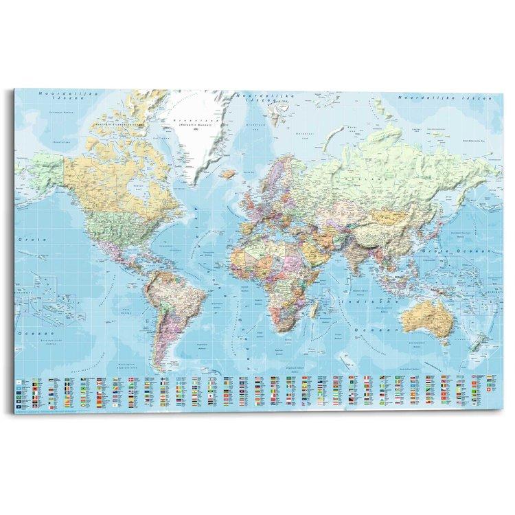 Wereldkaart - Nederlandstalig  - Schilderij 90 x 60 cm