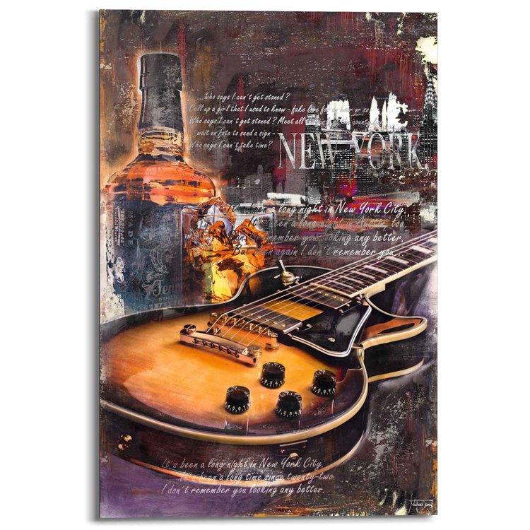 Gitaar en whiskey  - Schilderij 60 x 90 cm