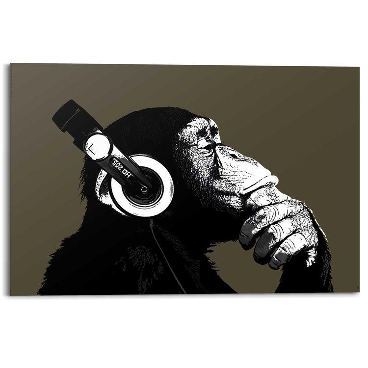 Aap met koptelefoon  - Schilderij 90 x 60 cm