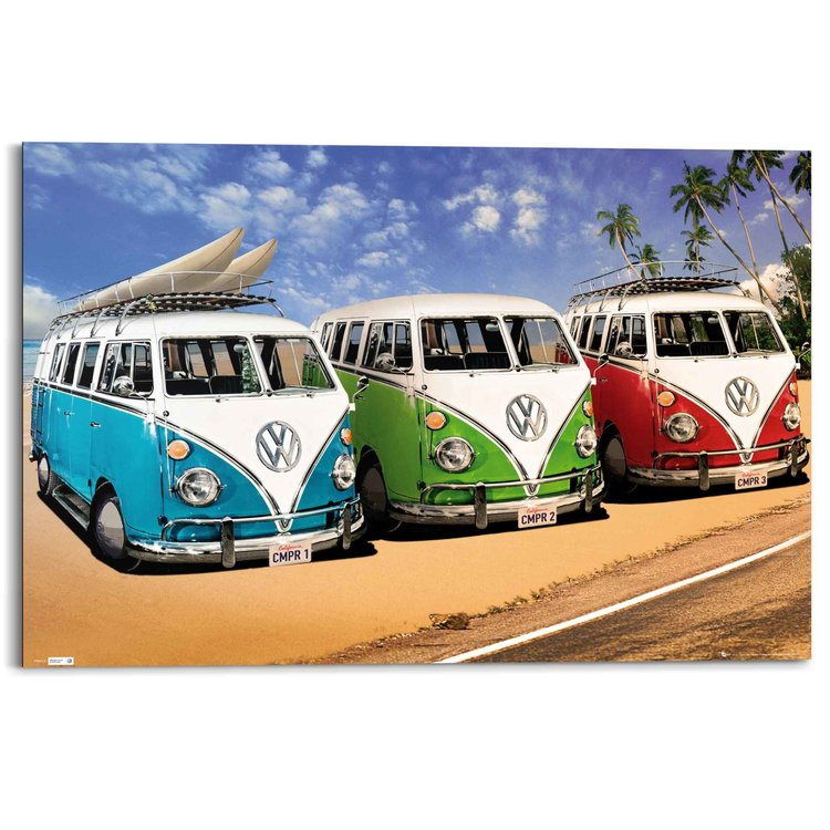 Volkswagen busjes  - Schilderij 90 x 60 cm