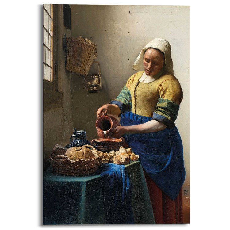 Johannes Vermeer Melkmeisje  - Schilderij 60 x 90 cm