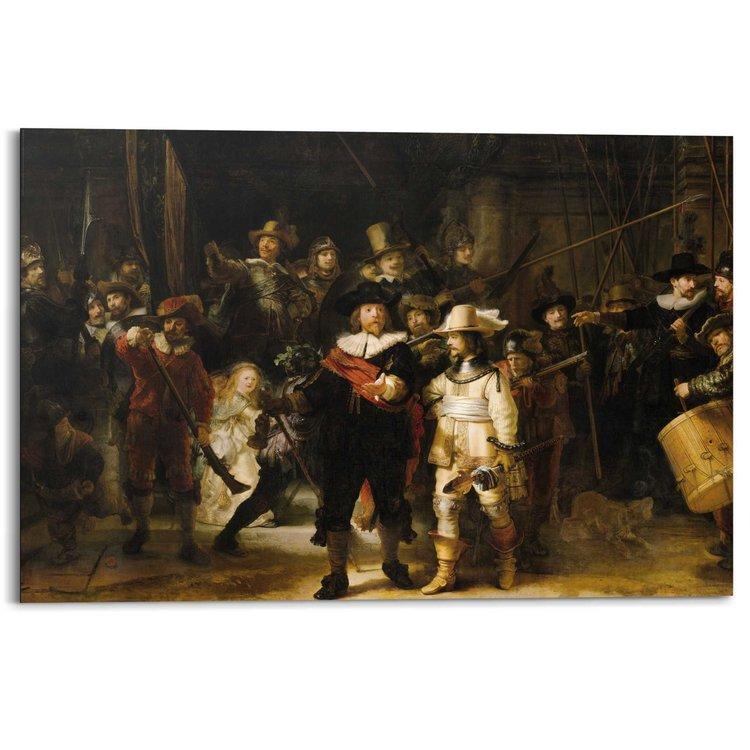 Rembrandt Nachtwacht  - Schilderij 90 x 60 cm