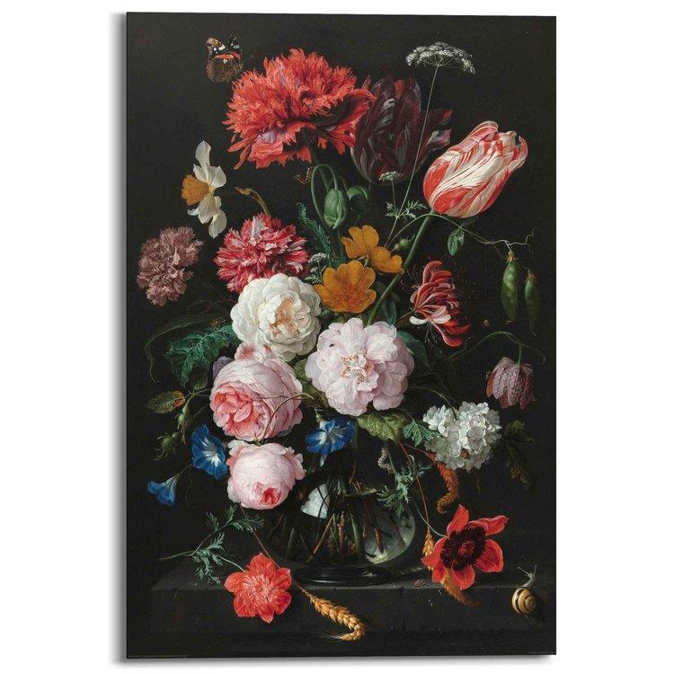 Jan Davidsz de Heem - Stilleven met bloemen  - Schilderij 60 x 90 cm