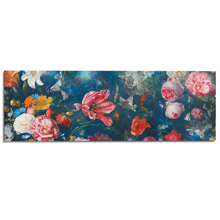 Bloemenwereld Kleurrijk - Bloemen - Planten - Schilderij Deco Panel MDF 156 x 52 cm
