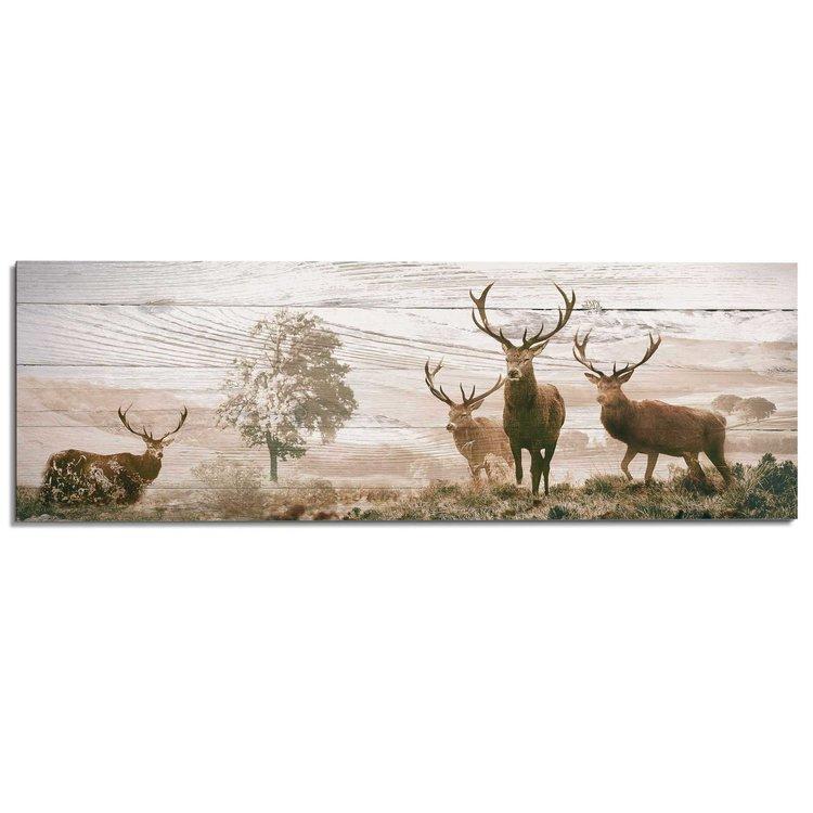Herten  - Schilderij 156 x 52 cm