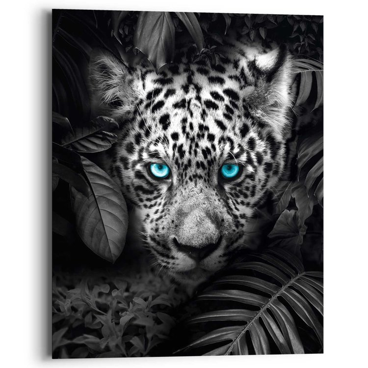 Luipaard Blauwe ogen - Schilderij 40 x 50 cm