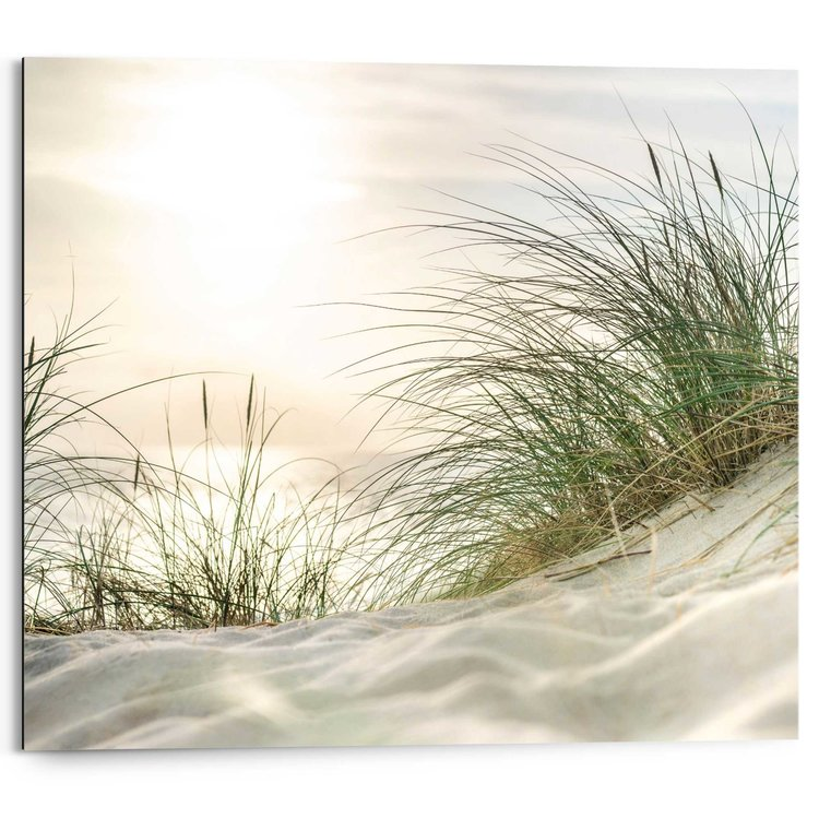 Zonsondergang strand Strand - Zon - Wuivende halmen - Rust - Schilderij Deco Panel 50 x 40 cm
