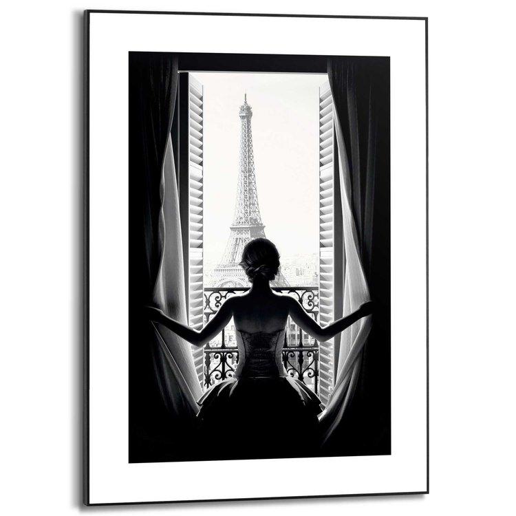 Vrouw in Parijs Eiffeltoren - Stad van de liefde - Uitzicht - Schilderij Slim Frame MDF 50 x 70 cm