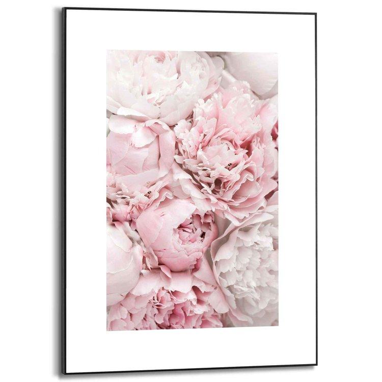 Pioenrozen Bloemen - Roos - Romantisch - Schilderij Slim Frame MDF 50 x 70 cm