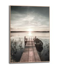Steiger Meer - Houten steiger - Natuur - Zon - Schilderij Slim Frame MDF 50 x 70 cm