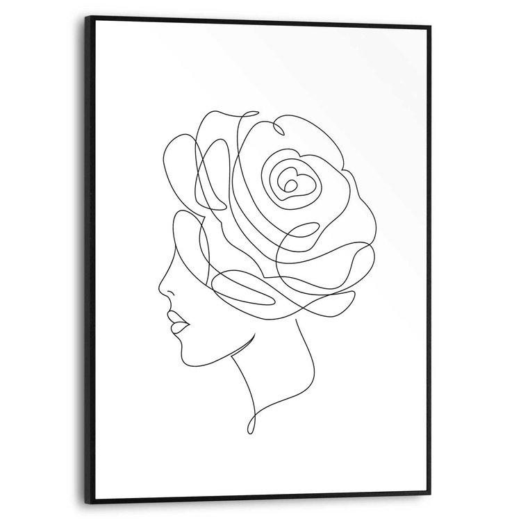 Tekening Vrouw - One line drawing - Mode - Schilderij Slim Frame MDF 30 x 40 cm