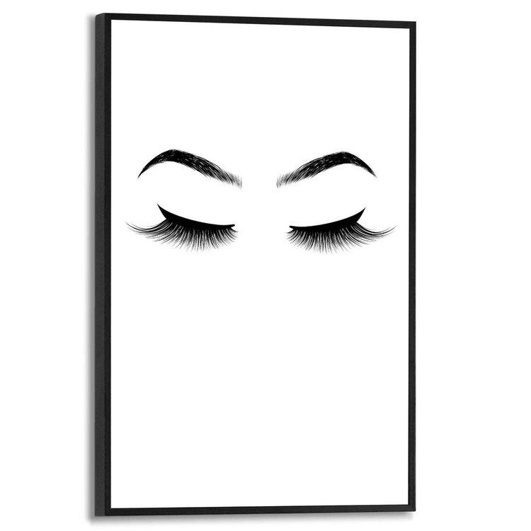 Wenkbrauwen en wimpers Illustratie - Modern - Minimalistisch - Schilderij Slim Frame MDF 20 x 30 cm
