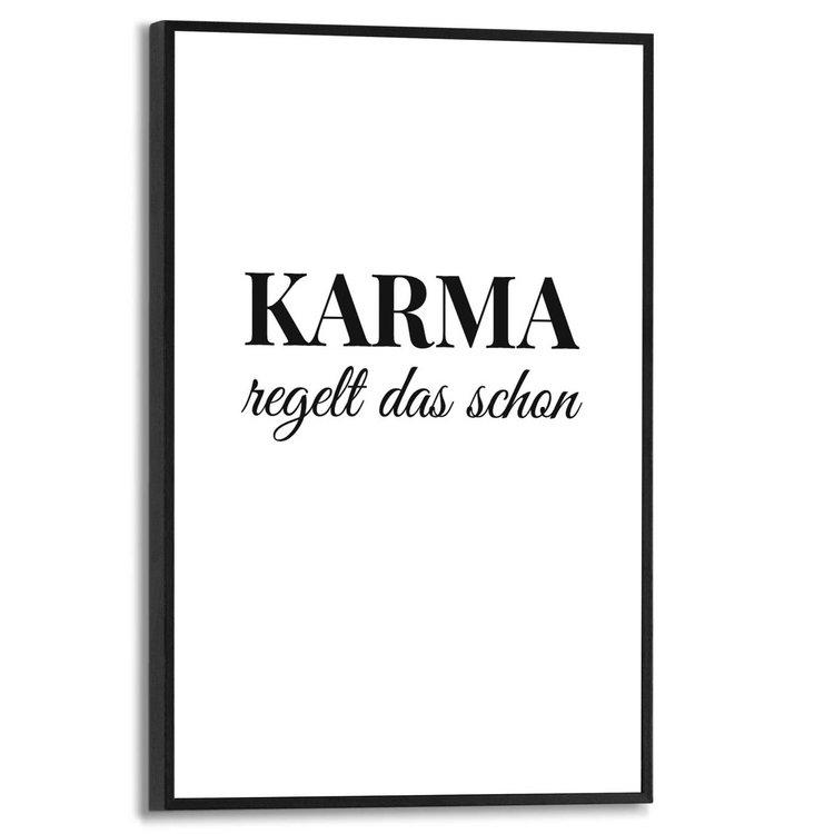 Karma Duitse tekst - Schilderij Slim Frame MDF 20 x 30 cm