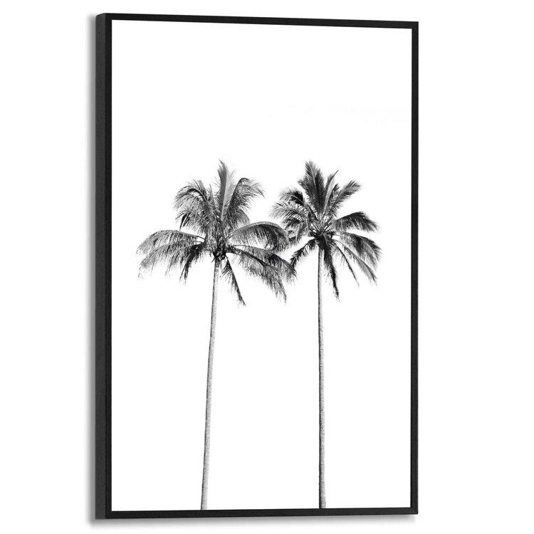 Twee palmbomen Strand - Zee - Vakantie - Schilderij Slim Frame MDF 20 x 30 cm