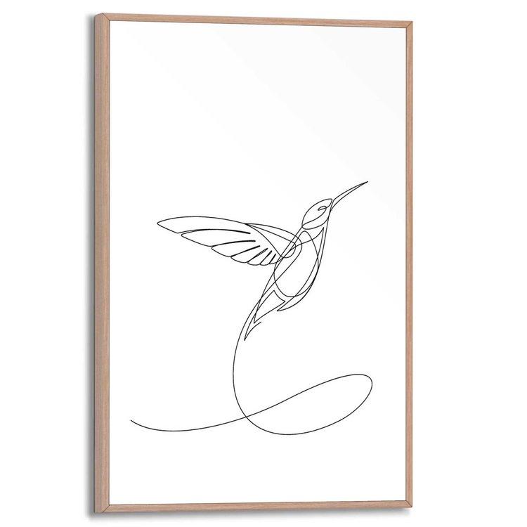 Kolibrie Silhouet - One line drawing - Vogel - Schilderij Slim Frame MDF 20 x 30 cm