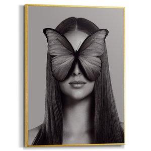 Schilderij Vrouw met vlinder