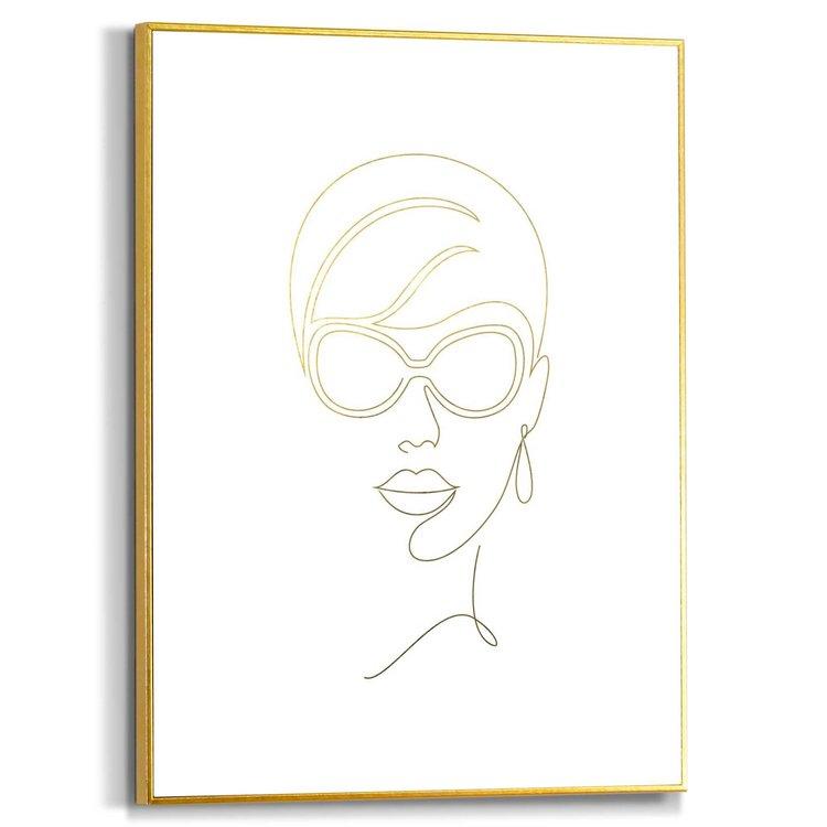 Moderne vrouw Tekening - Modern - Mode - Schilderij Slim Frame MDF 30 x 40 cm