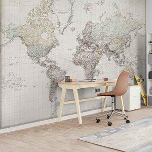 Fotobehang Nederlandstalige wereldkaart
