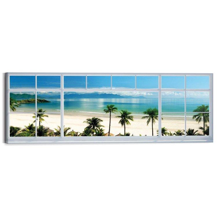 Tropisch strand  - Schilderij 118 x 40 cm