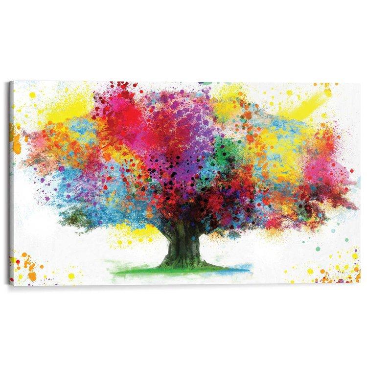 Boom in kleuren  - Schilderij 118 x 70 cm