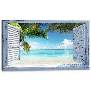 Schilderij Uitzicht over tropisch strand