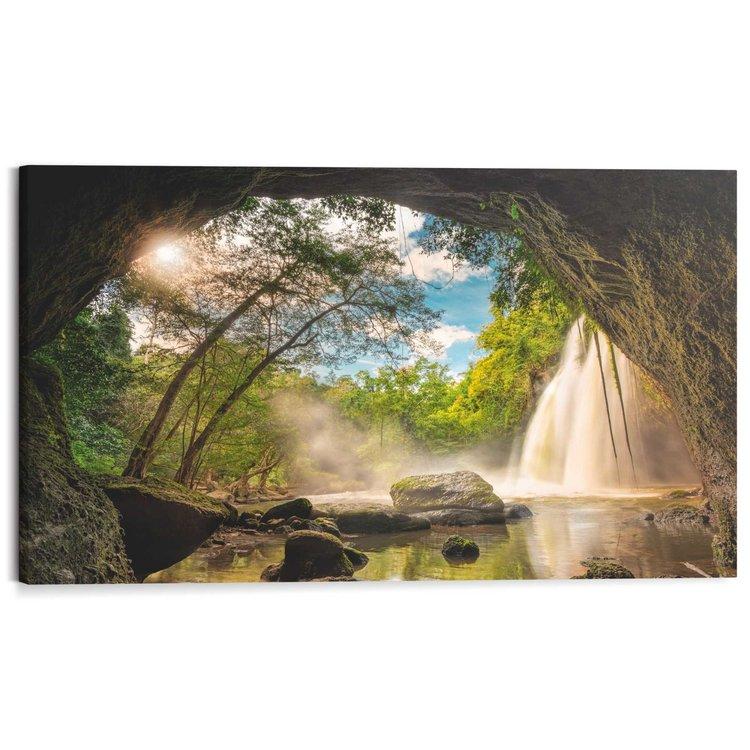 Grot met waterval  - Schilderij 118 x 70 cm