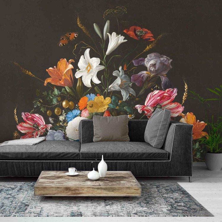 Stilleven met bloemen op vaas  Jan Davidsz de Heem - Oude Meester - Boeket - Vlinder  - Fotobehang 384 x 260 cm Vlies