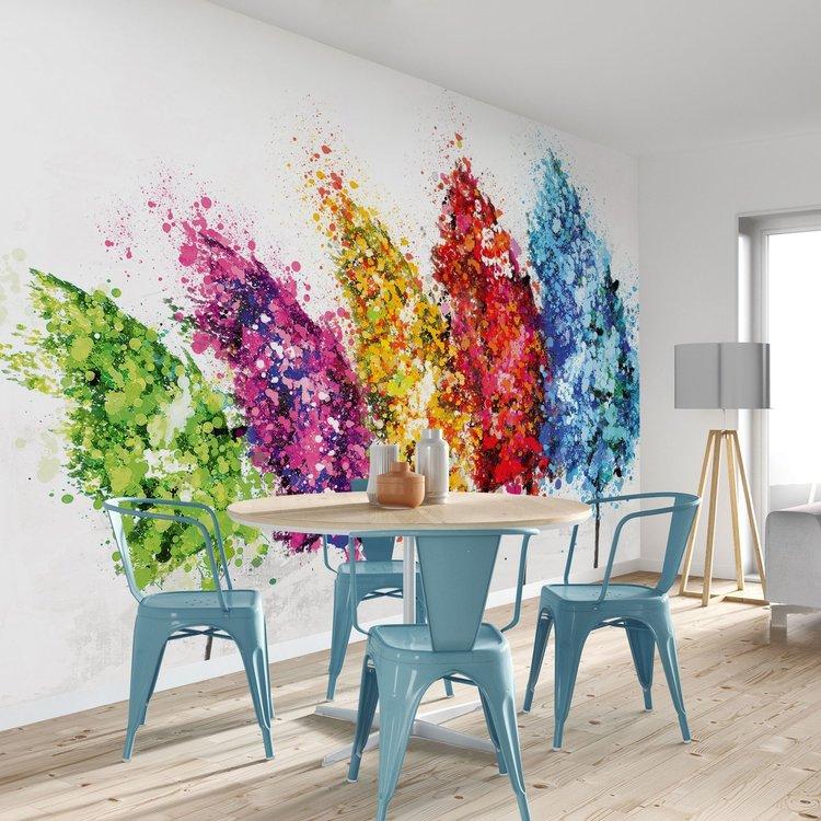 Aquarel bomen Kleurrijk - bonte kleuren  - Fotobehang 384 x 260 cm Vlies